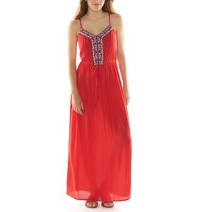 Lily Rose red embroidered maxi dress XL